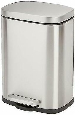AmazonBasics Rectangle Soft-Close Trash Can - 5L, Satin Nick