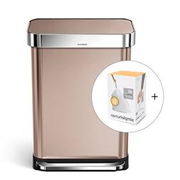 simplehuman 55L Rectangular Step Trash Can with Liner Pocket