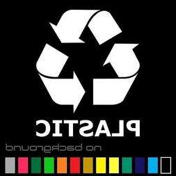 Recycle Plastic Sticker Vinyl Decal - Trash Bin Symbol Can R