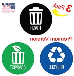 iTouchless Recycle, Trash & Compost Premium Vinyl Stickers f