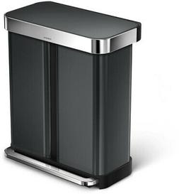 simplehuman 58 L/15 Gallon Dual Compartment Step Can Recycle