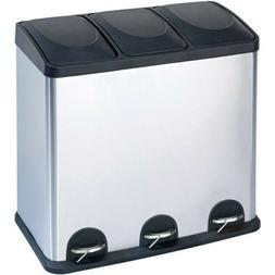 RECYCLING BIN 3-Compartment 16 Gallon Stainless Steel Trash