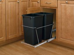 Rev-A-Shelf Double 27 Qt. Pullout Waste Container Chrome wit