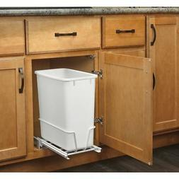 Rev-A-Shelf Pull-Out Trash Can 20-Quart Plastic White Pantry