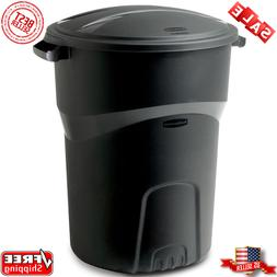 roughneck black round garbage bin