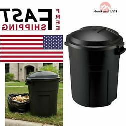 Roughneck Black Round Trash Can Waste Bin Container Heavy Du