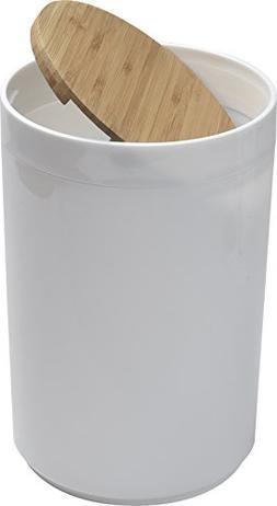EVIDECO Round Bathroom Floor Trash Can Padang, White/Brown
