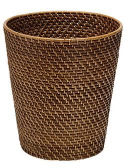 Round Rattan Waste Basket, Honey Brown
