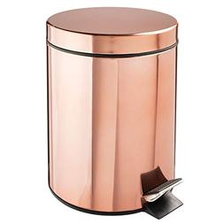 mDesign 5 Liter Round Small Metal Step Trash Can Wastebasket