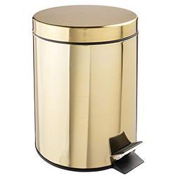 mDesign 5 Liter Round Small Metal Step Trash Can Wastebasket