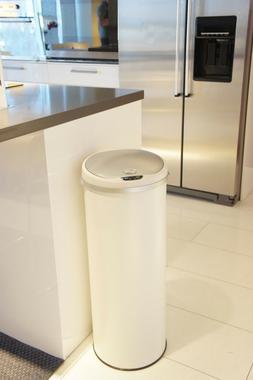 Round Trash Can Sensor Storage w/ Deodorizing Metal Steel 13