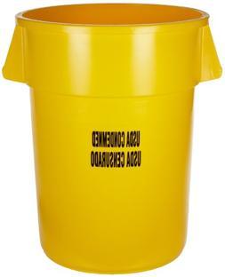 Rubbermaid 44 gal. Round Yellow Trash Can w/ Handles, FG2643