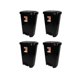 Hefty 13-Gallon Step-On Trash Can, Black Rugged And Durable