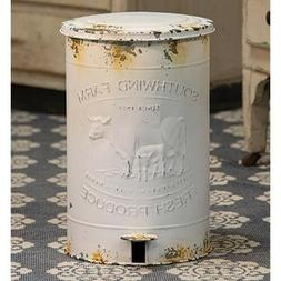 Rustic Vintage Country Style Southwind Farm White Metal Tras