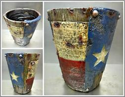 Rustic Western Country Texas Flag Wastebasket Trash Can Plan