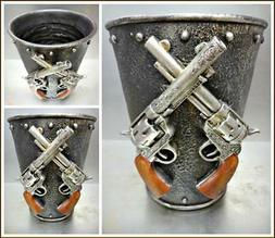 Rustic Western Cowboy Six Shooter Bathroom Wastebasket Trash