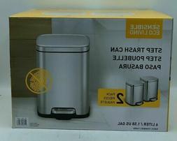 EKO Sensible Eco Living Step Trash Can, 6 Liter, 2 Pack M85D