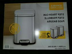 EKO Sensible Eco Living Step Trash Can, 6 Liter, 2 Pack