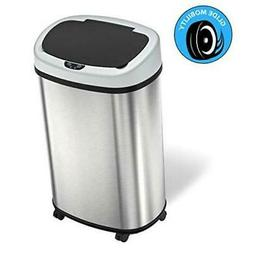SensorCan 13 Gallon Sensor Trash Can with Wheels and Stainle