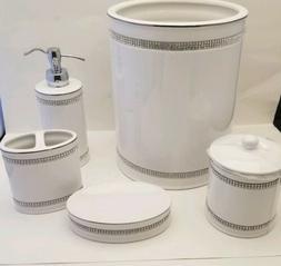 BELLA LUX Set 5 White Rhinestone Trash Can Soap Dispenser Di