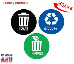 set of 3 recycle trash and decal