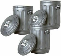 Set of 3 Silver Trash Cans for Action Figures for WWE wrestl