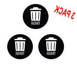 Set of 3 Trash Sticker Decals for trash cans premium viny, H