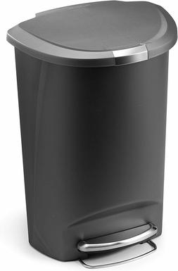 13 Gallon Semi-Round Kitchen Step Trash Can With Secure Slid