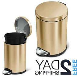 Small Metal Trash Can With Lid Gold Touchless Step On Foot P