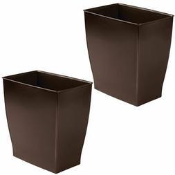 mDesign Small Plastic Rectangular Trash Can Wastebasket