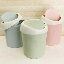 Small Trash Garbage Can Plastic Swing Lid Bathroom Kitchen W