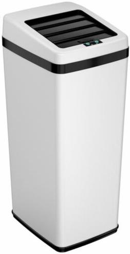 iTouchless 14 Gallon Space-Saving Touchless Trash Can SX, Wh
