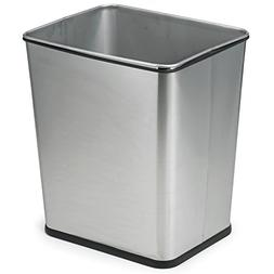 Polder 7 Gallon Square Trash Can, Brushed S/S