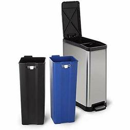 Stainless Kitchen Trash Cans Steel With Dual Compartment Rec