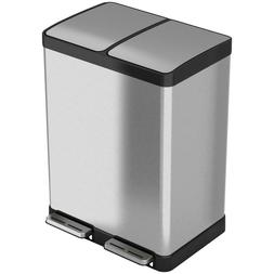 Stainless Steel 16 Gallon Dual Step Trash Can