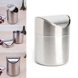 Stainless Steel Round Eco Friendly Home Desk Waste Can Trash