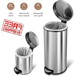 Stainless Steel Step On Trash Garbage Can Round Set With Lid