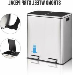 Stainless Steel Step Trash Can and Recycling Bin Dual Trash