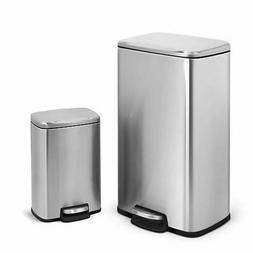 Stainless Steel Trash Can, Set of 2, 30L and 5L Size, Rectan