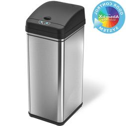 New 13 Gallon Stainless Trash Can Steel Deodorizer Touchless