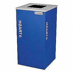 TOUGH GUY Steel and Plastic Trash Can,Square,24 gal.,Blue, 5