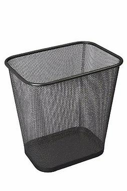 Steel Mesh Black Rectangular Open Top Waste Basket Bin Trash