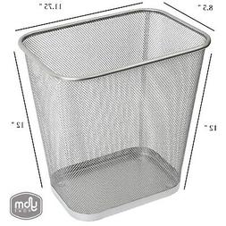 Steel Mesh Silver  Rectangular Open Top Waste Basket Bin Tra