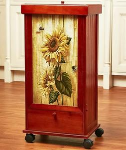 Sunflower Country Flower Rolling Trash Bin Can Storage Drawe