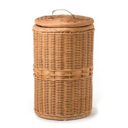 The Basket Lady Tall Wicker Trash Basket with Metal Liner, T