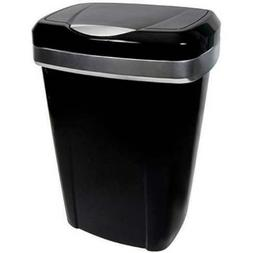 Hefty Premium Touch Lid 12.2-Gal Trash Can, Black