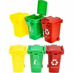 TecUnite 6 Pieces Kids Toy Push Vehicles Garbage Cans Mini T