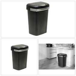 Trash Can 13 Gal. Black Touch Lid Durable Plastic Liner Lock