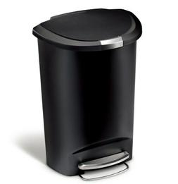 Trash Can 13 Gallon Semi-Round Plastic Step Kitchen Trash Ca