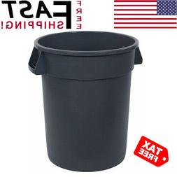 Trash Can 32 Gal Round Outdoor Yard Waste Recycle Bin Heavy